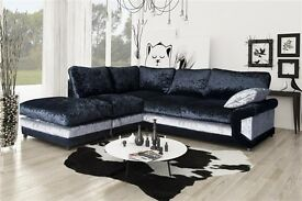 *SPECIAL DINO*SPECIAL DINO CORNER SOFA IN CRUSHED WELVET FABRIC*