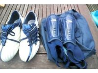 Umbro Football Boots and shin pads- size 8/42
