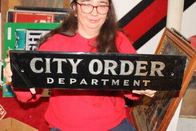"""Vintage 1930's City Order Department Police City Hall Gas Oil 22"""" Glass Sign"""