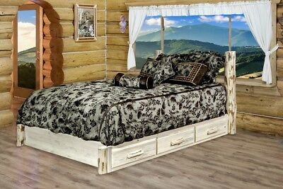 Log Storage Platform Bed with Drawers Amish Made Full Size R