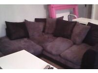 Grey and black right hand corner sofa ex cond 1 year old