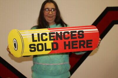 "Vintage 1950s Licenses Sold Here Hunting Shotgun Shell Gun Store 2 Side 26"" Sign"