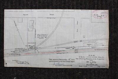 1912 Vintage Map of the PRR Co., Florin, Lancaster County, Pennsylvania