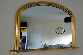 Large gold mirror for mantle, sideboard, dresser or hanging. Immaculate!