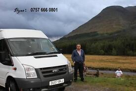 Ilyas travel 17 seater minibus hire / hire with driver. All London airports Theme parks outing