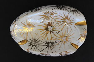 Vintage-Plymouth-Products-Pottery-Ashtray-White-Gold-Sunbursts-3-Rests-Phila-PA