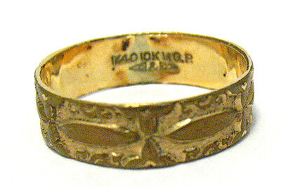 VICTORIAN 10K GOLD FILLED ETERNITY BAND RING SIZE 6.5   4 MM WIDE  1.6 GRAMS