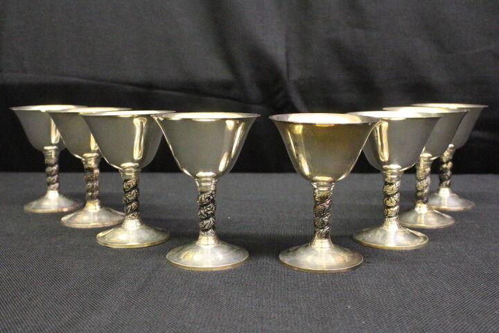 Set of 8 Vintage Roma-Spain GRAPE VINE LEAVES Pattern Silverplate Wine Goblets