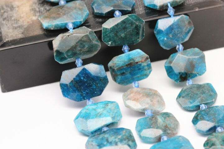 """Apatite Rectangle Slice Faceted Octagon Beads Approx 15x20mm 15.5"""" Strand"""