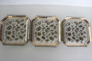 Georges-Briard-Set-of-3-Persian-Garden-Square-Glass-Dishes-Gold-Gilded-7-5-034