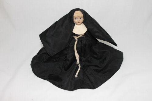 "Vintage Composition Doll Nun Sister Doll Black Habit Catholic 7.5"" Missing 1 Arm"