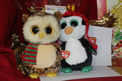 "TY BEANIE BOOS 1 WISE OWL + 1 FREEZE PENGUIN CHRISTMAS-MEDIUM-9""-MWNMT-NICE GIFT"