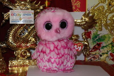 "TY BEANIE BOOS PINKY THE PINK OWL.9"".MEDIUM.2015/2016.MWNMT.NICE GIFT"