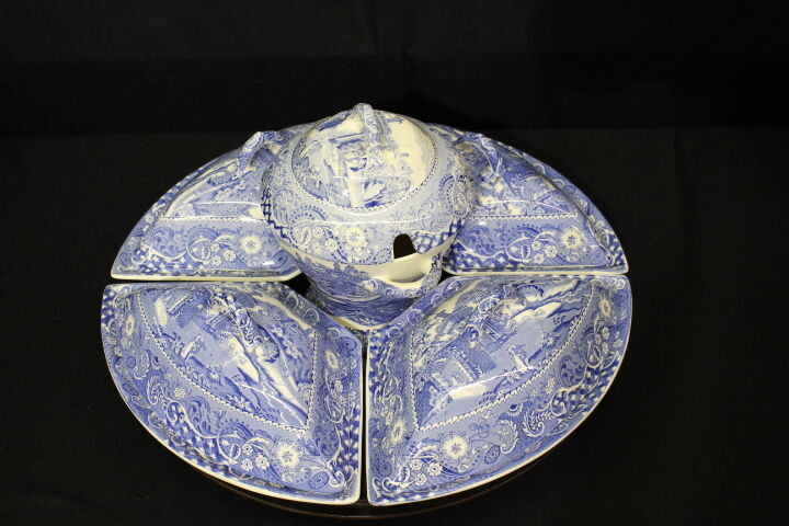 "Scarce English Blue Transferware Supper Set by W.R.Midwinter ""Landscape"" Pattern"