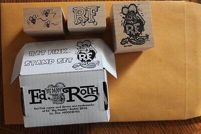 Rat Fink Ink Stamp Set of 3 ~ New.  Ed Roth, Big Daddy, RF