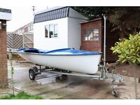 Kestrel 15' Sailing Dinghy with road trailer and launching trolly
