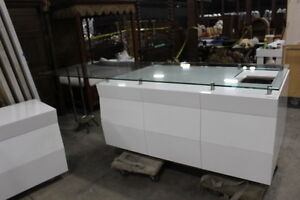 Modern White Counters and Display Cases - MUST SELL TODAY