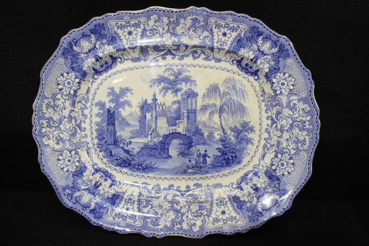 """Oversized Early 19th Century Adams """"Delphi"""" Pattern Platter; 20"""" X 16"""""""