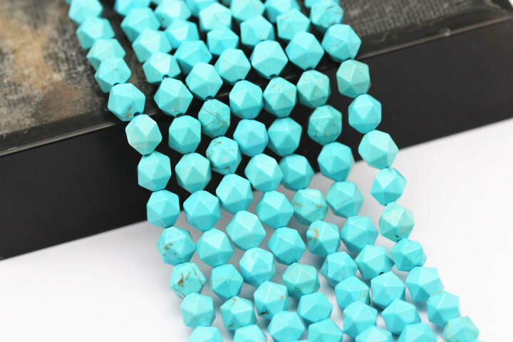 """Blue Turquoise Faceted Star Cut Beads 6mm 8mm 10mm 15.5"""" Strand"""