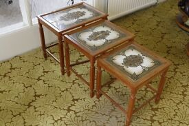 Vintage 1960s nest of tiled topped tables