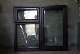 UPVC WINDOW DOUBEL GLAZED ROSEWOOD ON WHITE 1285mm x 1060mm Ex display