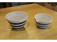 Pair of mixing bowls vintage items.Cornish and Staffordshire ware