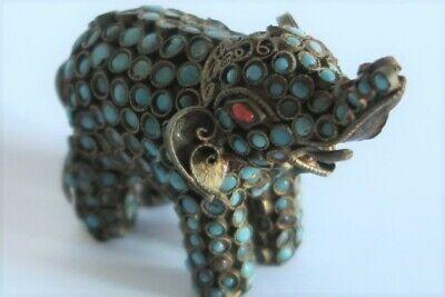 Tibetan Brass & Coral Glass Small Elephant