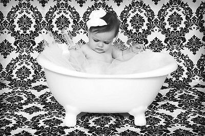 Damask Photography Backdrop 5ft x 9 ft Black White Background Studio Photo Shoot