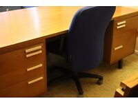 Solid wood & cherry / teak veneer extremely large executive desk with two pedestal sets of drawers
