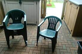 Plastic chairs garden/patio