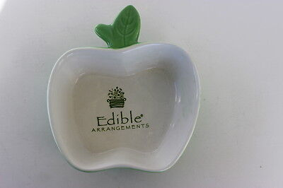 Edible Arrangements Granny Smith Green   White Ceramic Apple Serving Dish Bowl