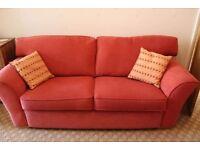 Sofa and armchair terracotta