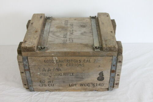 Vtg Wood TAAAA Small Arms Ammunition Ammo Box 6000 Cartridges .22 Cal Long Rifle