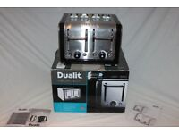 Boxed Dualit 4-slot Architect Toaster in Black/Brushed Stainless steel. As new
