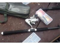 4 fishing rods bait and spinners