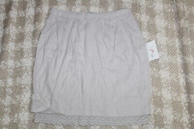 NWT ODILLE Anthropologie Womens Sz 10 Beige Linen Eyelet Trim Hem Pleated Skirt