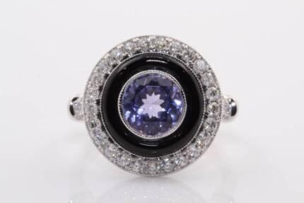 18ct white gold 1.50ct tanzanite & 0.61cts F/SI diamond ring