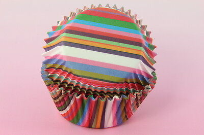 100x, 2'' Cupcake Liners, Baking Cups, Assorted Colors, Stripe, Standard Size - Colored Cupcake Liners