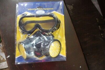 Safety Gas Mask Respirator Half Face W Goggles Facepiece Wfilters Us Ship 3 Kit