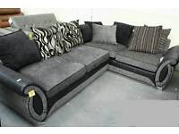 HELIX LARGE LEFT HAND CORNER CHAISE SOFA IN CHARCOAL AND BLACK COMBINATION