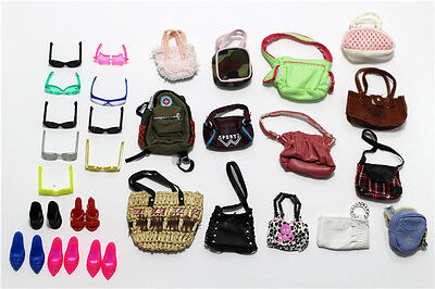 8 items=4* Fashion Bags+2 paris glass+2 pairs shoes For Barbie Doll Accessories