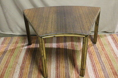 RARE Genuine Vintage McGUIRE San Francisco Bamboo Rattan PIE PIECE Corner Table