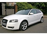 2008 AUDI A3 SPORT, 1.4 TSI, 123BHP EDITION, LOVELY WHITE, ONLY 82K MILES, NEW MOT