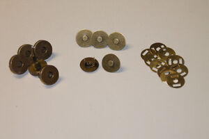 5x Magnetverschluss für Taschen - 18 mm - messing matt