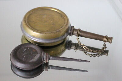 Two Antique Vintage Brass Round Thumb Press Squeeze Can Oiler Oil Canister Keg