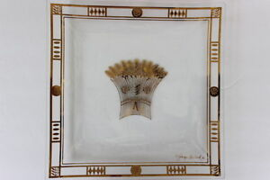 Georges-Briard-1960-039-s-Golden-Harvest-Pattern-Square-Glass-Dish-Gold-Gilded-10-034