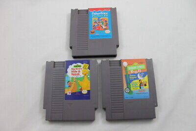 Lot 3 Nintendo Entertainment System NES Video Games Sesame Street Fisher Price