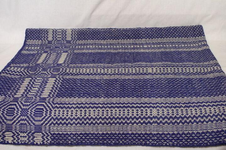 19th C. Hand Loomed  84x64 BLUE & WHITE Geometric Wool Coverlet Blanket (30)