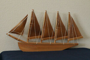 .Vintage Native Canadian Handicraft Ship Birch Bark Sails