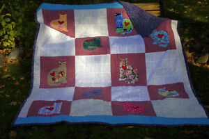 Cat Hand Sewn & Machine Stitched Quilt - Beautiful